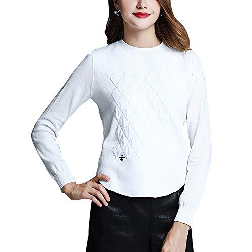 Mena top da donna a manica lunga con ricamo a girocollo ( colore : white-long , dimensioni : xxs )
