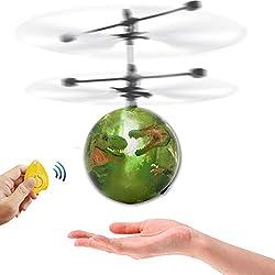 TOOGOO Drone de induccion infrarrojo fantastica Helicoptero bola de iluminacion LED flash volador Juguete para ninos Sensacion de gestos Carga USB (dinosaurio)