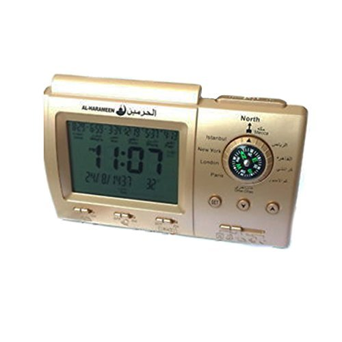 Premium Islamische Azan Wecker–Digital Muslim Gebet Alarm Athan Islam mit Qibla-Kompass