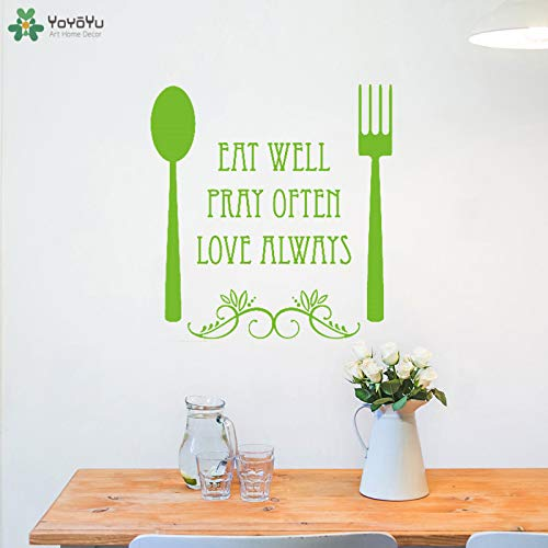 zhuziji Wall Decal Modern Kitchen Fork Spoon Wall Sticker Quotes Eat Pray Love Removable Interior Art Decor Adhesive Desig 42x44cm Forks Washington