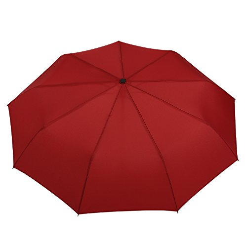 """Lightweight """"Dupont Teflon"""" Travel Umbrella, Virtually Indestructible Windproof Canopy, **Lifetime Replacement Guarantee**, Automatic Open/Close For One Handed Operation, Slip-Proof Handle for Easy Carrying By Repel (Red)"""