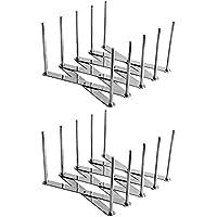 Kirmax Paquet de 2 Extendable Porte-Couvercle Pot Polyvalent Steamer Rack Casseroles Verres Porte-Organisateur de…