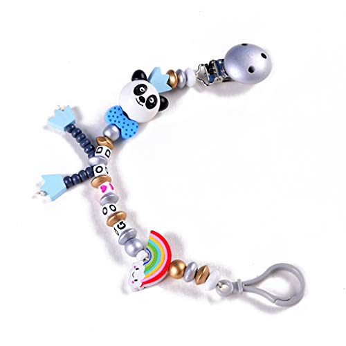 Huihu Baby Schnuller Clip Kette Hand Made Infant Jungen Mädchen Cute Panda Buchstaben Spielzeug Beißring Schnullerkette
