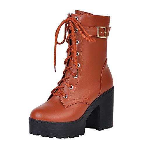Geili Damen Schnürstiefel Halbschaft Stiefel High Heels Stiefeletten Lederstiefel mit Blockabsatz Kurzschaft Schnürstiefeletten Wasserdicht Boots Stöckelschuhe (Braune Frauen Kurze Stiefel Heels)