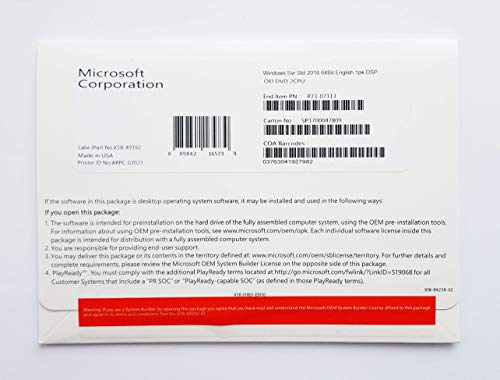 Microsoft Windows Server Standard (2016) DVD 16 core englisch