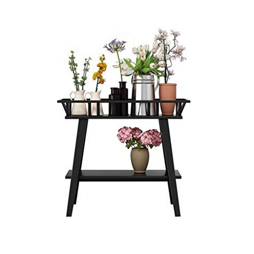GG.S Schmiedeeisen mehrschichtige Blume Stehen Innenboden Wohnzimmer Rack Hause Multi-Korn grüne Blume Stehen (Color : Black) - Gg Korn