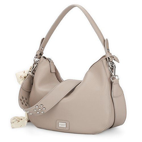 Salida Footlocker Fotos David Jones - Womens Zipper Cross Body Bag - Smooth Faux Leather Ladies Saddle Bags - Shoulder Purse Wallet Messenger Handbag - With Multicolor Scarf Hobo Bag Fashion Girl Travel - Grigio Chiaro Talpa Chiaro Explorar La Venta mvfic8l