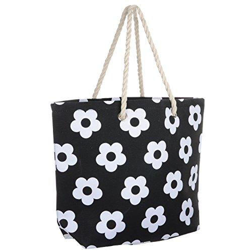 Ladies Black Flower Canvas Beach Shoulder Bag Tote Shopping Reuseable Handbag
