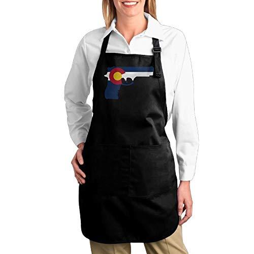 Unisex Canvas Kitchen Bib Apron with Pocket Gun Decals Colorado State Flag Multipurpose Adjustable Utility Or Work Apron 2 - Colorado Decals