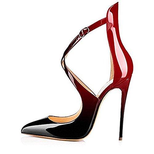 Damen Spitze Zehen Sandalen Lack High-Heels Stiletto Criss Cross Hochzeit Party Gradients Rot