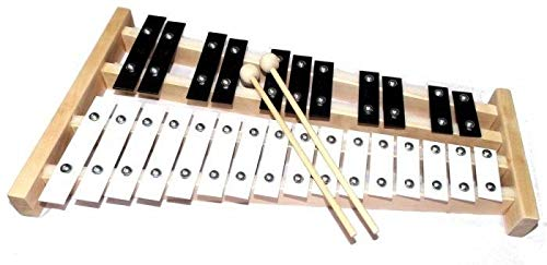 Professional Wooden Glockenspiel Xylophone FREE COVER MANY COLOR + TWO WOODEN MALLETS - Great for kids. PERFECT GIFT (Orange)
