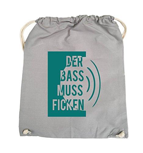 Comedy Bags - DER BASS MUSS FICKEN - Turnbeutel - 37x46cm - Farbe: Schwarz / Pink Hellgrau / Tuerkis