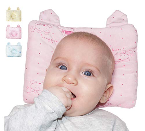 Cuscino Neonato Plagiocefalia Antisoffoco Prevenzione e Cura della Testa Piatta Neonato Adatto a Culla e Carrozzina Tessuto Traspirante Nanna Sicura e Qualità del Sonno 0-12 mesi (Rosa) - HelloBaby
