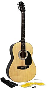 Martin Smith W-100 Acoustic Guitar Package with Strings, Plecs, Strap - Black