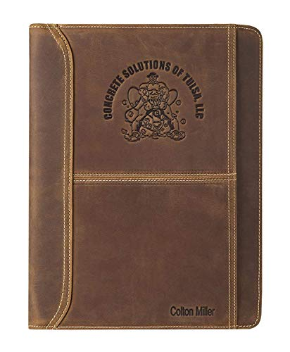 LOGO/INITIALS/FULL NAME Gravierte Padfolio-Tasche, Konferenzmappe Organizer A4 mit Reißverschluss, Reisemappe mit Schreibblockhalter, personalisiertes Handgemacht Geschenk für Männer und Frauen