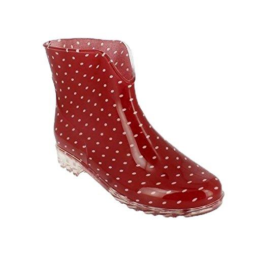 Damen Mädchen Gummistiefel   Freizeit Regenstiefel   Slipper Boots   Kurzschaft Gummistiefeletten   Komfort Blockabsatz Schuhe   BA560400 (38, Rot)