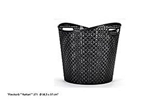 Flexibler Wäschekorb Tragetasche Aufbewahrungskorb 37cm hoch Ø 38,5 in Schwarz WäschekorbKorb Gartenkorb Haushaltskorb Spielzeugkorb Aufbewahrung