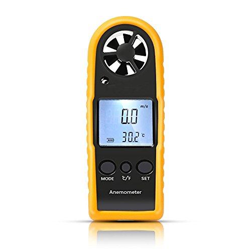 LCD Digital Windmesser Windmessgerät, GOCHANGE Tragbar Digital Anemometer Messinstrument handheld für Seefahrt Fischen, Handwindmesser Windgeschwindigkeit Temperaturmessung für Windsurfing Segeln