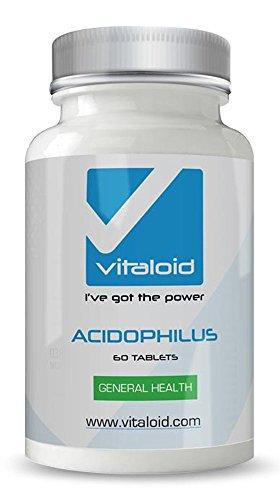 Acidophilus Lactobilus Probiótico Vitaloid - 60 Cápsulas - El Acidophilus Lactobilus protege tu flora intestinal y mantiene una digestión equilibrada - Suplemento Vitamínico Probiótico - Acidophilus Lactobilus ayuda a mantener un sistema digestivo saludable ayuda con la hinchazón y el trastorno de estómago - Utilizado para la limpieza de colon y como remedio Homeopático. Los Probióticos también son útiles para el tracto urinario, la salud vaginal y problemas de la piel (eccema y hongos)