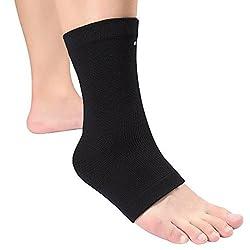 Knöchelbandage Kompression Fußbandage Knöchelstütze Sprunggelenkbandage Joggen Laufen Schutz für Damen und Herrn Schwarz (1 Stück)