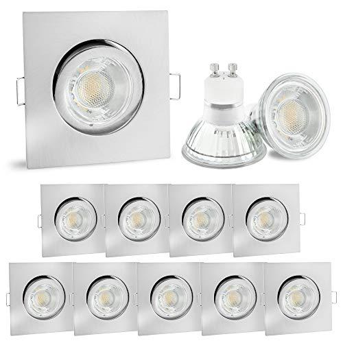 Led-gebürstet (10er Set linovum® LED Einbauspot eckig Edelstahl Optik - schwenkbarer Einbaustrahler 230V inkl. 6W GU10 LED warmweiß & Fassung)