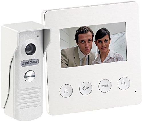 Somikon Video Klingel: Video-Türsprechanlage mit Farbdisplay, LED-Licht & Türöffnungsfunktion (Sprechanlage)