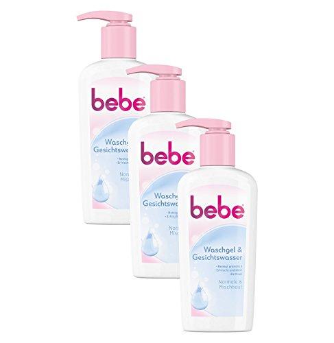 Klar Reinigungsschaum (bebe Waschgel & Gesichtswasser / Sanfte Gesichtsreinigung für Normale bis Mischhaut / 3 x 200ml)