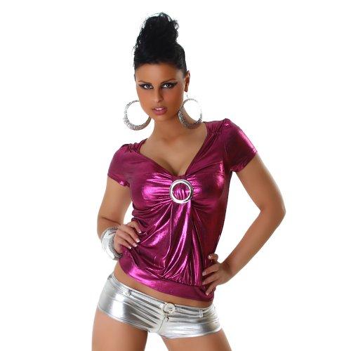 T-Shirt Leder-Optik Wet-Look Einheitsgr. 32,34,36,38 - Pink (Pink Gogo Stiefel)