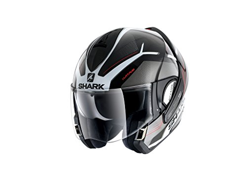 Shark EVOline de tiburón 3hataum KWR cascos de motocicleta, color negro/blanco/rojo, tamaño...