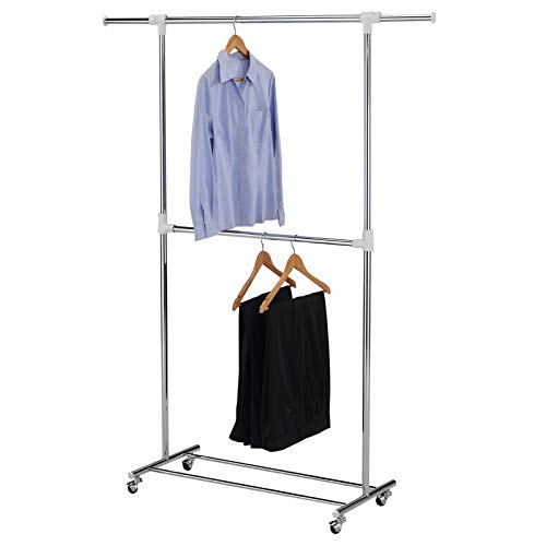 IDIMEX Portant Simple à vêtements REZZO penderie sur roulettes vestiaire Mobile avec 2 Barres Dont 1 Extensible et Hauteur réglable, en métal chromé