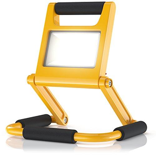 Brandson - Baustrahler LED mit AKKU im Slim-Design - einklappbare Arbeitsleuchte Arbeitsscheinwerfer - LED Fluter - inkl. Standgestell und Tragegriff - 2 Dimmstufen 50% 100% - Lade-Indikator