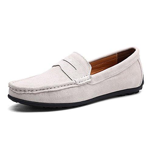 Vilocy uomo fibbia casuale scamosciato mocassini slip on guida barca mocassini scarpe leggero grigio,42