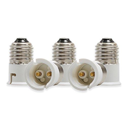 Convertidor Yblntektech de casquillos de bombillas E27 a B22, para bombillas LED, 5 unidades