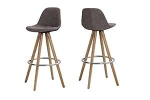 Tabouret de bar Orso (Lot de 2)–Tissu marron–Chêne Naturel–Chaise assise 74cm by danform