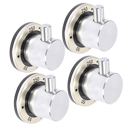 Spares2go Knobog - Interruptor de control para la parrilla de horno Britannia - plata/negro (Pack de 4)