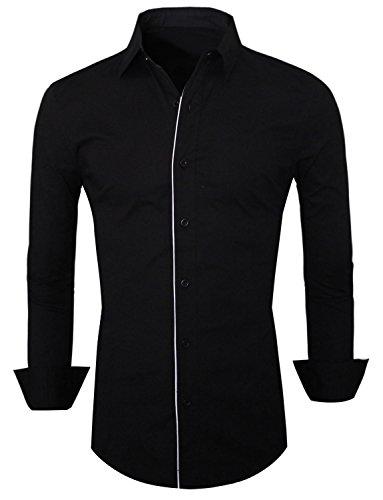 HRYfashion anzughemd haute coupe slim pour homme Noir - Noir