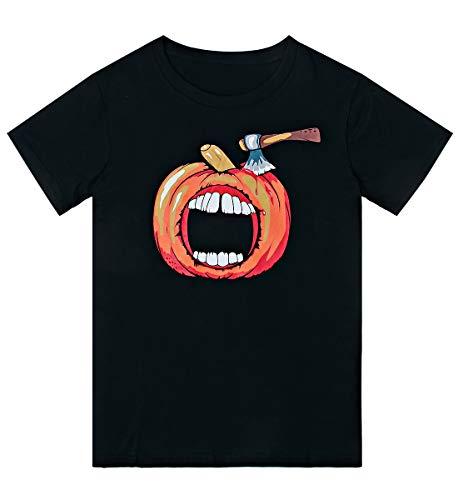 Loveternal Halloween Kostüm für Herren Kürbis T-Shirt 3D Gedruckt Coole Baumwolle Halloween Costume Party Geburtstag Kurzarm Schwarzes Hemd L -