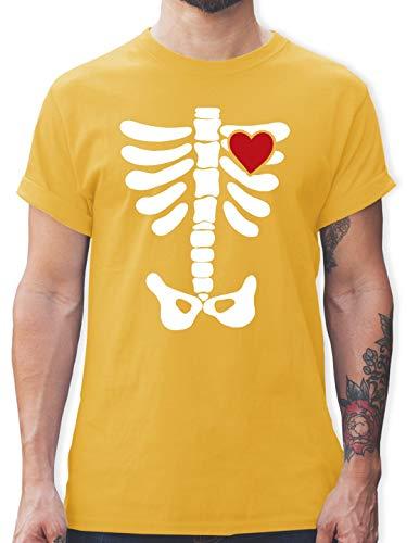 Halloween - Skelett Herz Halloween Kostüm - L - Gelb - L190 - Herren T-Shirt Rundhals
