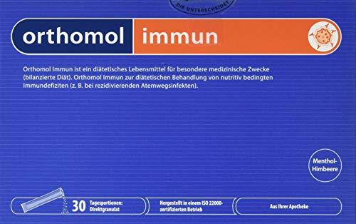 Orthomol immun 30er Direktgranulat Menthol-Himbeere - Vitamine & Spurenelemente Komplex - Immunsystem Unterstützung