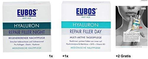 Eubos Set: 1x 50ml Hyaluron Repair Filler Night + 1x 50ml Hyaluron Repair Filler Day + 2x Gratisproben Multi Active Face Oil. Für eine...