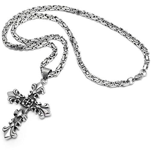 Schmuck-Checker Lilien Kreuz Anhänger aus 316L Edelstahl Silber Fleur de Lis Königskette Halskette Kette Gothic Kreuz Bikerschmuck Männerschmuck Geschenk