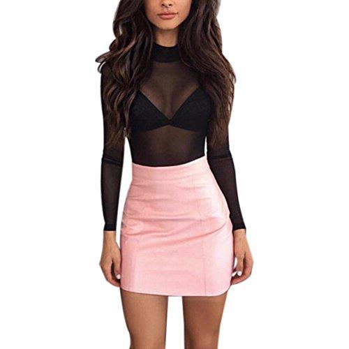 ZARLLE Vestidos Cortos Mujer, Mujeres Sexy De Vestido Largo Amujeres Vendaje De Cuero LáPiz Bodycon Bandge Alta Cintura Cadera Corta Mini Falda (XL,Rosado)