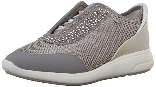 Geox d ophira e - scarpe da ginnastica basse donna, grigio (lt grey/silverc1355), 40 eu