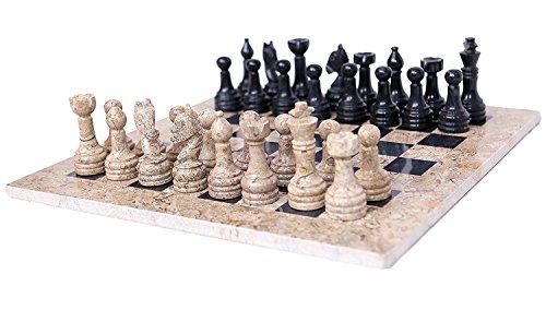 RADICALn 16 Inches Handmade Coral and Black Marble Full Chess Game Original Marble Chess Set - RADICALn 16 pulgadas hechas a mano de coral y negro de mármol Juego de ajedrez completo juego de ajedrez de mármol original