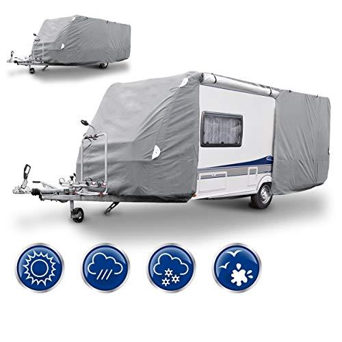 ECD Germany Funda de garage L 580 x 225 x 220 cm Lona para coche transpirable con elástico Cubierta para protección de caravana
