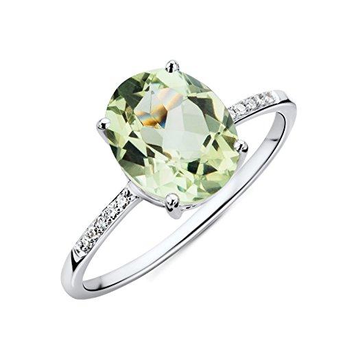 Miore Ring Damen Weißgold 9 Karat / 375 Gold   Grüner Amethyst mit  Diamant Brillianten (Weißgold Ring Amethyst Grüner)
