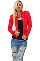 10218 Fashion4Young Damen Kurzjacke Blazer Jäckchen Jacke Army-Look in 2 Größen in 4 Farben