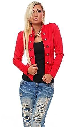 10218 Fashion4Young Damen Kurzjacke Blazer Jäckchen Jacke Army-Look in 2 Größen in 4 Farben (S/M 34/36, Coral)