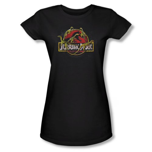 Jurassic Park-Maglietta da donna qualcosa ha vissuto in Nero Black Medium