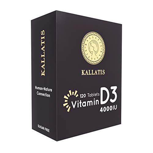 Kallatis Vitamin D3 4000 IE - Alle 4 Tage eine Tablette - Maximale Stärke Immunität ergänzt Vegan und Vegetarisch freundlich, Non GMO, Gluten, Laktose und zuckerfrei 120 leicht zu schlucken Tabletten